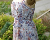 70s Floral Day Dress with Belt XL / PLUS SIZE