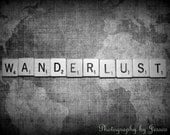 "14x11"" Wanderlust Scrabble Tile Black and White Fine Art Photography on Map"