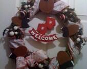 Holiday Moose Door Wreath