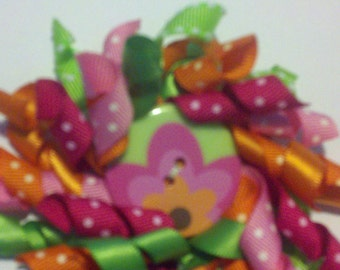 Korker Ribbon Hair Clip Lg with flower button, Pink, lime, orange, Raspberry