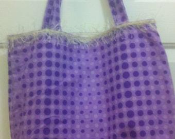 Tote Bag Purple tones polka dot with off white stingy trim