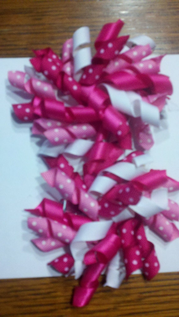 Korker Ribbon Hair Clips set of 2 raspberry pink, Lt. pink and white