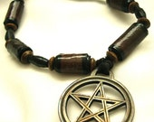 SALE Wiccan pentacle and paper beads - Paper Wood Charm Bracelet  - eco friendly recycled jewelry