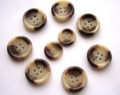 Vintage buttons in coffee mocca colors 9 pcs beige brown large and small ones