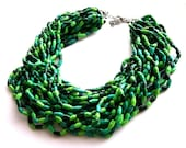 Paper beads statement necklace spring green jewelry  eco friendly natural forest colors sustainable upcycled jewelry