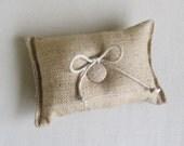 natural Burlap ring bearer pillow
