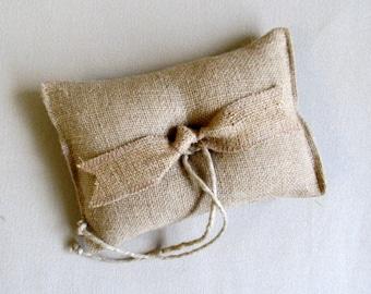 """ring bearer pillow """"TIED THE KNOT"""" light natural Burlap"""