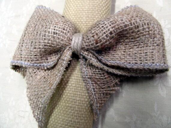 Items similar to Burlap Bow Napkin Ring on Etsy