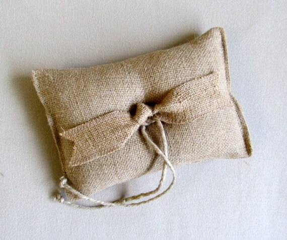 "ring bearer pillow ""TIED THE KNOT"" light natural Burlap"