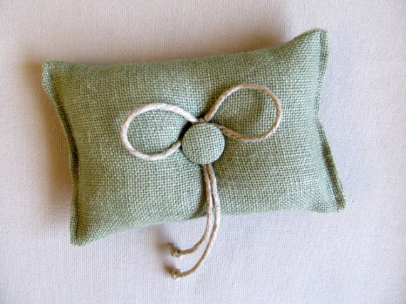 green Burlap ring bearer pillow