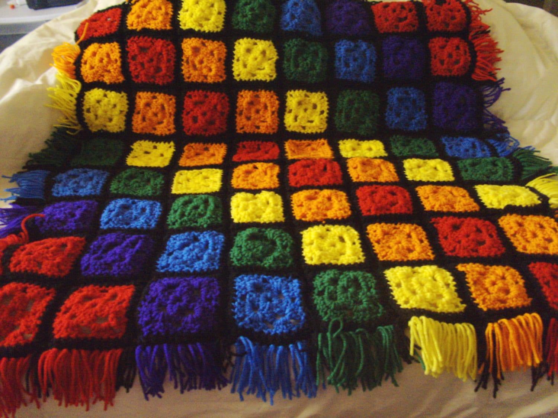 Rainbow Baby Granny Square Blanket By Darlenemoon On Etsy