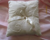 Rustic Embroidered Linen Ring Bearer's Pillow
