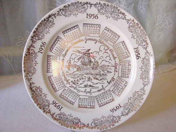 Vintage Plate Collectable 1956 Calender Gold and White