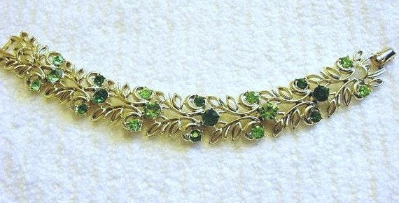 Vintage Coro Bracelet, Green Rhinestone Coro Jewelry