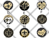 Black and gold fleur de lis/1 inch buttons/ choice of magnets, zipper pulls, flatbacks, or pendant inserts