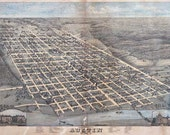 Austin 1873. Antique Map of Austin, Texas Bird's Eye View - Printable Map. Instant digital download