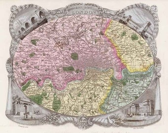 London 1837. Antique map of the Environs of London, England, by Thomas Moule - MAP PRINT