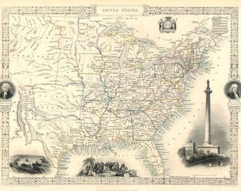 United States c1850. Antique Map of the United States by Tallis - MAP PRINT