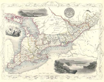 West Canada c1853. Antique Map of West Canada by Tallis - MAP PRINT