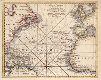 Western or Atlantic Ocean c1788. Antique Chart of the Western or Atlantic Ocean - MAP PRINT