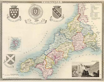 Cornwall 1837. Antique map of the county of Cornwall, England by Thomas Moule - MAP PRINT