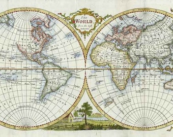 World  Map 1777. Antique Map of the World engraved by Thomas Kitchin - MAP PRINT