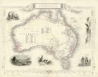 Australia 1851 - Antique Map  of Australia engraved by J.Rapkin. Published by Tallis. MAP PRINT