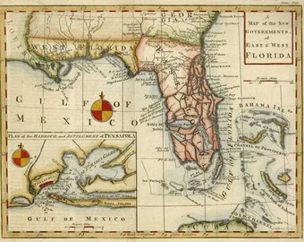 Florida 1763. Antique Map of the New Governments of East and West Florida - MAP PRINT