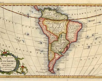 South America c1770. Antique Map of South America by Rollos - MAP PRINT