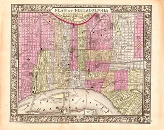 Philadelphia  1865. Antique Map of Philadelphia - engraved by S. Augustus Mitchell, Jr - MAP PRINT