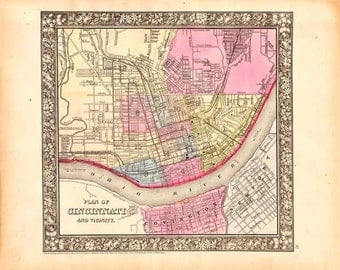 Cincinnati 1865. Antique Map of Cincinnati - engraved by S. Augustus Mitchell, Jr. - MAP PRINT