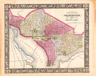 Washington, DC 1865. Antique Map of Washington by Samuel Augustus Mitchell Jr - MAP PRINT