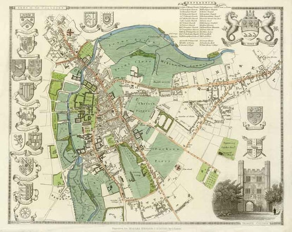 Cambridge 1837. Antique map of Cambridge, England town and university by Thomas Moule - MAP PRINT