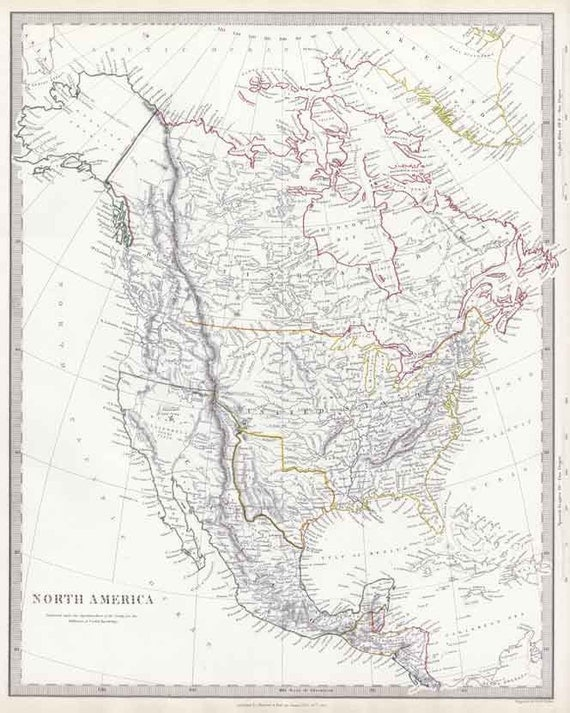 North America 1843. Antique Map of North America with USA, Canada, Texas & Mexico - MAP PRINT