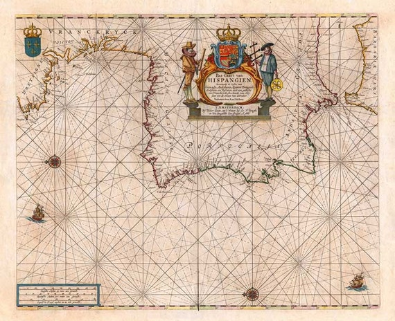 Spain and Portugal 1666. Antique Sea Chart of the coast of Spain and Portugal - MAP PRINT