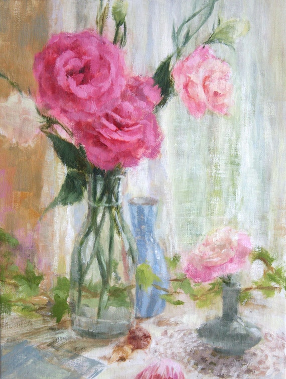 Original Oil Painting flowers floral still life pink roses lisianthus green ivy blue white romantic pretty doily pastel 9 x 12 inches