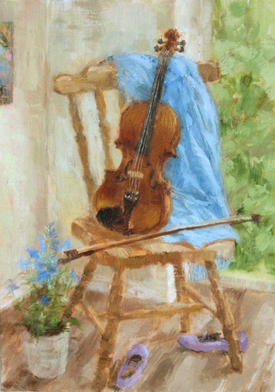 Painted Blue Violin