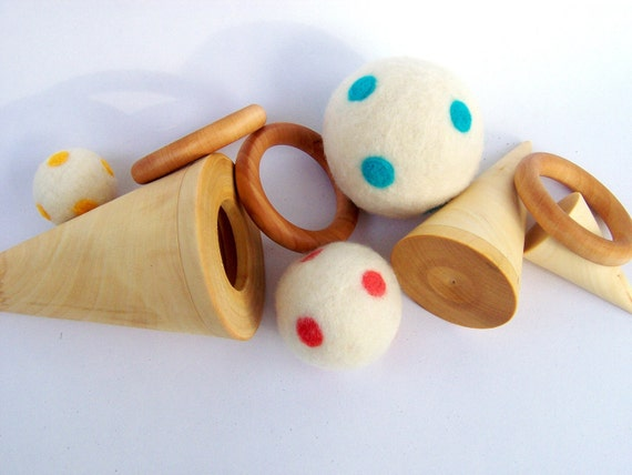Montessori Toy -  wood, wool, and silk - cones, balls, rings, and ribbons