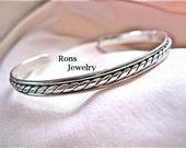 Sterling Silver, Rope Design, Narrow Cuff Bracelet