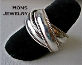 Sterling Silver, Rolling Puzzle Ring, Mill Grain Edged, Medium Wide