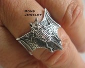 Bat Vampire Sterling Silver Ring, Lost Wax Casting