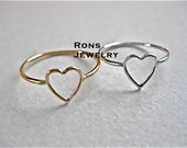Heart Ring, Sterling Silver or 14K Gold Filled Wire