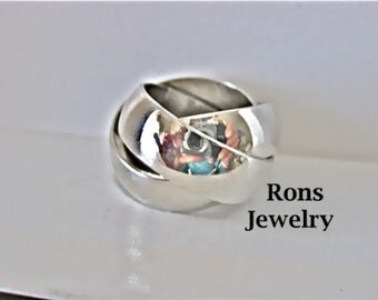 Sterling Silver, Rolling, Russian Wedding, Wide, Substantial Puzzle Ring