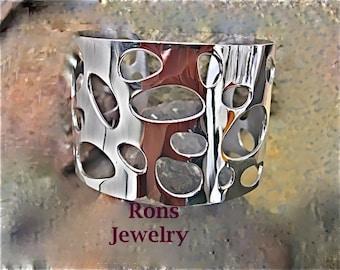 Steel, River Pebbles, Cuff Bracelet