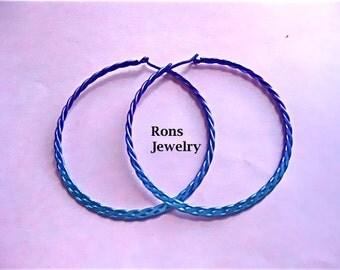 Niobium, Hand Flattened Braided Rope Wire, Large Hoop Earrings