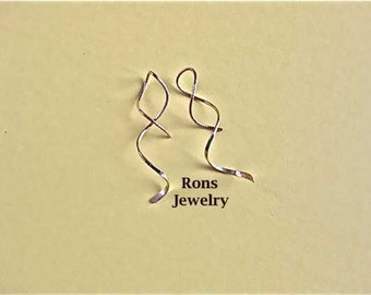 Corkscrew, Swirl, Twisted Wire, Small Drop Earrings In 3 Different Metals