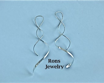 Corkscrew, Swirl, Twisted Wire, Long Sterling Silver, Coil Drop Earrings