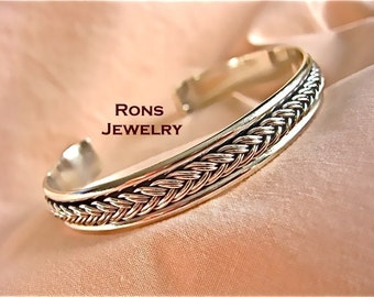 Sterling Silver, Large Heavy Braided Rope, Cuff Bracelet - * Special SPRING SALE PRICE * 25% off