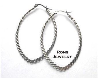 Steel Earrings Oblong Twisted Wire Large Hoops