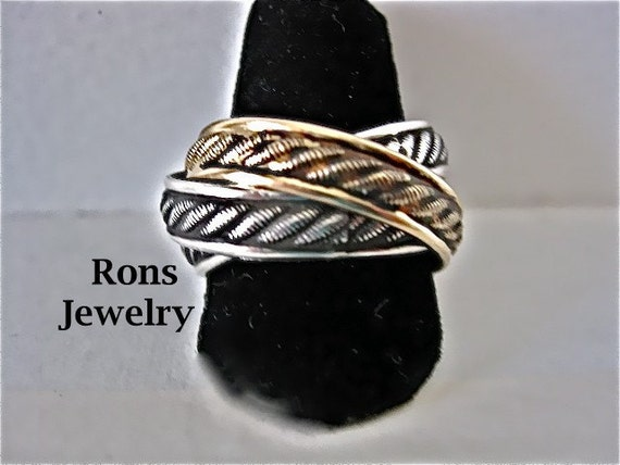 Sterling Silver and Gold Filled, Rolling Puzzle Ring, Rope Design